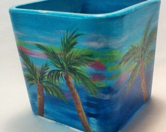 Hand Painted Candle Holder with Palm Trees