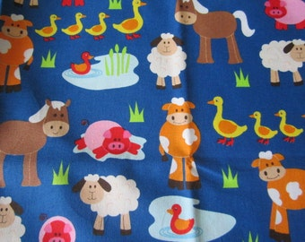 Apple Hill Farm Fabric Barnyard Pals BTY  Dark Blue Background Horses Cows Sheep Whimsical Animal Images Out of Print