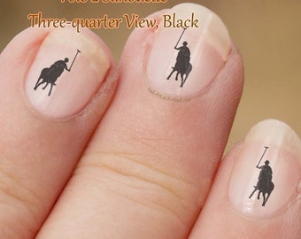 Polo Pony Nail Art, 2,  black running, side view,  fingernail stickers, horse and rider, Polo sport, pony silhouette,nail art, decals,