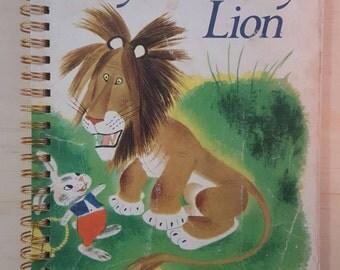Golden Book Notebook - Vintage  Tawny Scrawny Lion - A5 Rebound Journal - 200 page