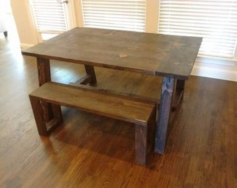 Pottery Barn style, Farmhouse dining table with bench , country rustic dining table, French country dining table.