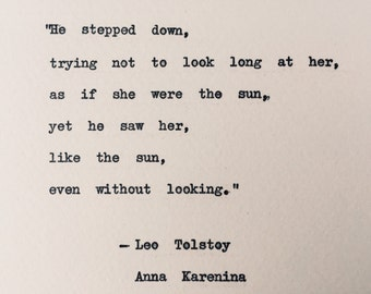 He Stepped Down quote/ Leo Tolstoy Anna Karenina/ weddings, love, bookish