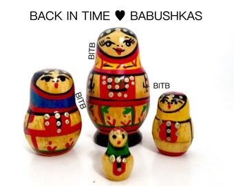 Rare Yoscar Ola Miniature Russian Nesting Doll Set of Four, Christmas Nesting Doll Gift, Hanukkah Gift, Matryoshka Dolls, USSR Soviet Dolls