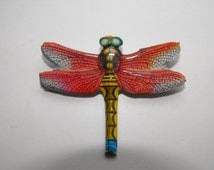 very brightly coloured vintage tin plate Dragonfly broch