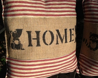 Country Burlap Accent Pillows with Red Ticking
