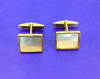 Vintage Cuff Links, Mother of Pearl Cuff Links, Gold Tone, Original Box, Father of the Bride, Groom