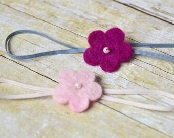 100% wool flower headband - size 0-3 months