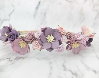 Purple mauve flower crown - water lily and rose crown - boho floral hair wreath - headpiece - wedding hair accessories