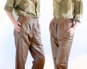 Vintage brown leather pants