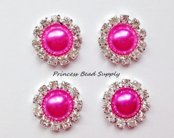 20mm Hot Pink Pearl Flat Back Buttons, Choose your quantity! Rhinestone Buttons, Flower Centers, Silver Metal Color, Pearls Embelishments