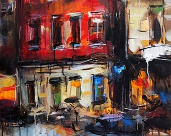 Cityscape Acrylic Painting on Canvas, Original urban art painting, Contemporary Abstract rain painting, Colorful artwork, Modern wall art