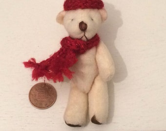 knitted glitter effect hat and scarf mini teddy bear