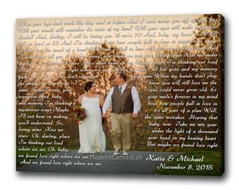 My Photo with Vows, Lyrics, Wedding Song, Prayers. Custom Gallery Canvas Print. Wedding  And Anniversary Gifts. B'day Idea For Him / Her.