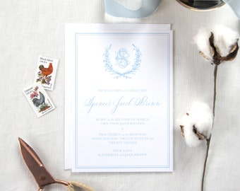 Custom Calligraphy Baby Invitation; Personalized baby announcement card