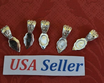5 Fancy Silver Plated Glue-On Bails, Ornate, Cabochon Pendant Bails, Tags