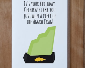 Nickelodeon Guts Inspired Birthday Card, Aggro Crag Card, 90s Nostalgia Birthday Card