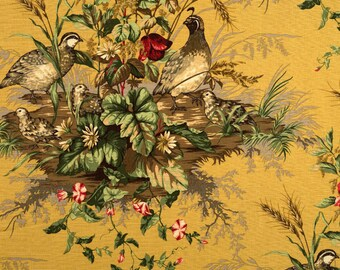 SCALAMANDRE EDWIN'S COVEY Pheasant Linen Toile Fabric 10 Yards Mustard Multi