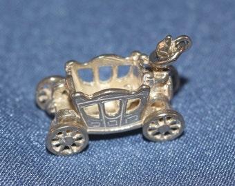Fantasy royal coach silver color charm