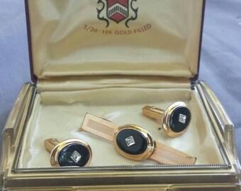 Vintage Anson tie clip and cufflinks