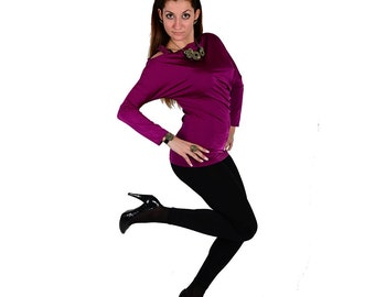Purple blouse with removable strap