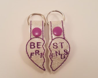 Embroidered Best friends snap tab keychain with ring