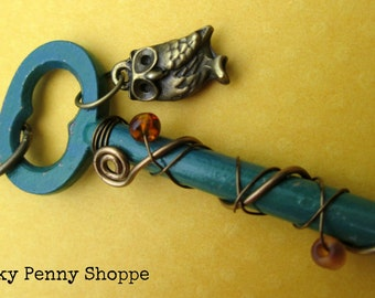 Antique Skeleton Key Necklace, Old Key Necklace, Painted Key