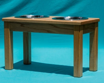 """Elevated Dog Feeder 12"""", Solid Oak Wood, Two Stainless Steel 2 Quart Bowls"""