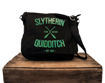 Slytherin Qudditch Black Messenger Bag