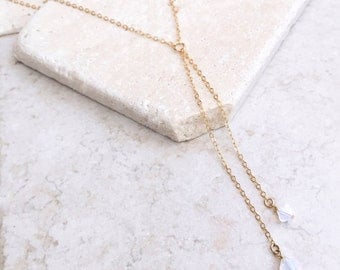 Swarovski crystal lariat necklace, 14k gold filled necklace, bridesmaids gift, drop stone necklace, for her, Y necklace