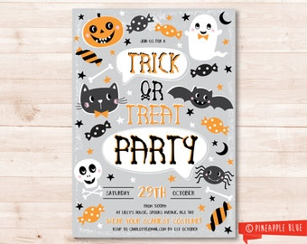 Halloween trick or treat party invitation | Halloween party invite | Custom party invite | Kids halloween invitation printable | Halloween