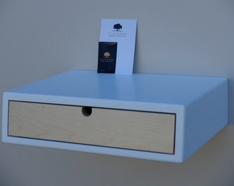 floating white bedside table with 1 drawer made of maple nightstand with drawer