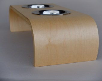 Modern Raised Dog and Cat Feeder in Maple, 3 Different Sizes, with Bowls, Handmade in Bent Plywood, Pet  Feeding Stand