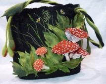 Felt bag, felt handbag, Bags & Purses, Shoulder Bags, womens bags, Felted Handbag, designer bag, Womans Purse, black bag, stylish bag