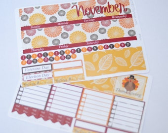 November Monthly Spread Kit Planner Stickers Removable Matte  or Glossy Stickers