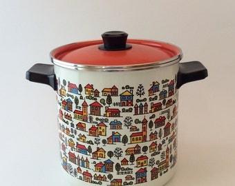 Enamelware Stock Pot and Vegetable Steamer Basket, Vintage  San Ignacio Enamel Cookware, Burnt Orange Lid, Danish Modern Houses