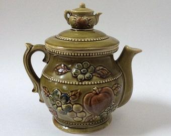 Vintage Teapot Cookie Jar Green Ceramic Double Tea Pot Cookie Jar Made in Japan