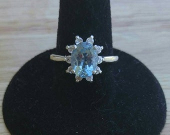 9x7mm Oval Natural Aquamarine and White Topaz Sterling Silver Ring Size 7