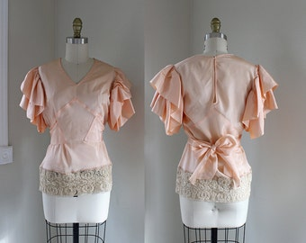 1930s Ruffle Blouse / Dreams of Satin Blouse / Vintage 30s 40s Pajama Top / XS S