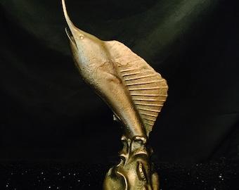 1920s Golden Sailfish Art Deco Statue
