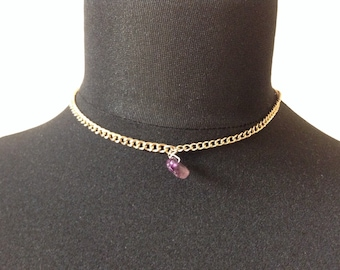 Amethyst choker Gold necklace teen gift goth tumblr hippy necklace gypsy choker beaded velvet cord adjustable statement choker single bead