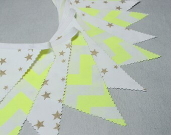 Bunting, Banner, Pennants, Gold & Neon, Home Decor, Nursery, Baby Shower, Chevron, Star Bunting, Fabric Flags