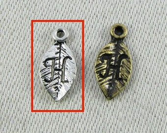 "Silver Letter ""H"" (1 each) on a Leaf Charm, 1 each per package. ALF017h"
