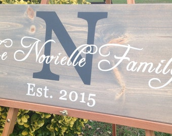 Family name sign,personalized, custom name sign, rustic initial sign, wedding/anniversary, wood family established sign, bless this home.