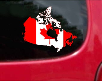 2 Pieces Canada Outline Map Flag Vinyl Decals Stickers Full Color/Weather Proof. U.S.A Free Shipping