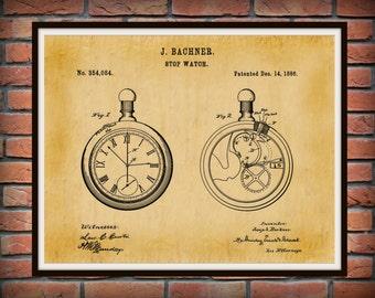 Patent 1886 Pocket Watch #2 - Stop Watch Patent Art Print - Time Piece Patent - Poster - Wall Art - Watch Maker Wall Art