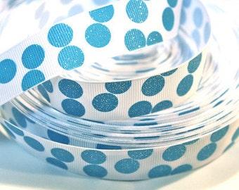 7/8 inch Light Blue Glitter Polka Dots on White Printed Grosgrain Ribbon for Hair Bow