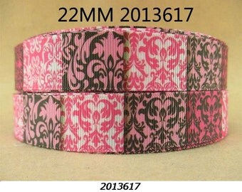 7/8 inch Pink, Brown and White Block Damask - 2013617  -  Printed Grosgrain Ribbon for Hair Bow