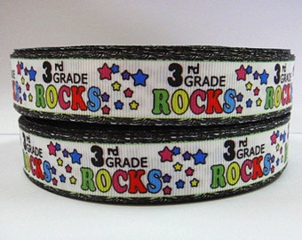 7/8 inch 3rd GRADE ROCKS (New) Third - Back to School -  Printed Grosgrain Ribbon for Hair Bow