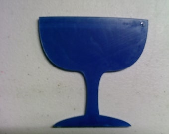 5 acrylic MARTINI GLASS key chain blanks
