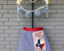 Don't mess with Texas Apron- Red, White, and Blue- Western Apron- Stars and Stripes-Hand Sewn- Cotton Apron- Western Apron- Etsy Apron-Gift